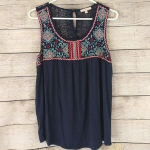 ♥️HP♥ Skies Are Blue Sleeveless Embroided Top Navy